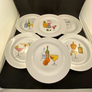 Set of six cocktail appetizer plates